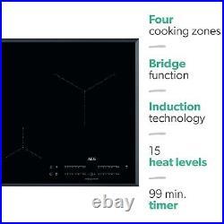 AEG IKE84441FB MaxiSense 78cm Touch Control Four Zone Induction Hob With Bridgin