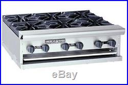 American Range 36in Commercial Counter Top Gas Hot Plate With 6 Open Burners