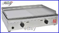 BARBECUE A GAS GPL COMPLETAMENTE IN ACCIAIO INOX PIASTRA LISCIA/RIGATA 60x40 CM