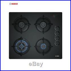 BOSCH POH 6B6B10 Built-in 60cm Black Glass Kitchen Gas Hob WOK Burner New