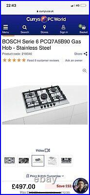 BOSCH Serie 6 PCQ7A5B90 Gas Hob £497 Stainless Steel