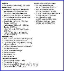 Bauknecht Induktionskochfeld Auto Sensor 77cm autark Slider Flexizone Timer 80cm