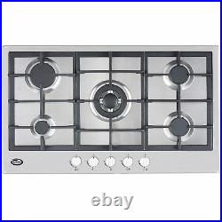 Bautechnic AICA9052 Gas Hob 90cm worktop, Stainless Steel, Cast-Iron supports
