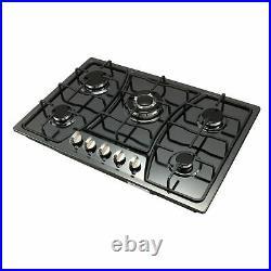 Big Sell! 30 5 Burners Built-In Black stainless steel CookTop Gas Stove NG/LPG