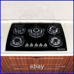 Black 24 30 35 4/5 Burners Built-In Stove NG/LPG Gas Cooktops Tempered Glass
