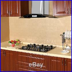 Black 30 inch Tempered Glass Built-in 5 Burner LPG/NG Gas Hob Cooktops Cook Top