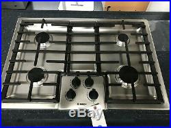 Bosch 500 Series 30 SS 4 Sealed Burner Low-Profile Gas Cooktop NGM5055UC