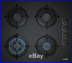 Bosch Gaskochfeld schwarz 60cm Autark Glas 4 flammig GAS KOCHFELD POH6B6B10 WOK