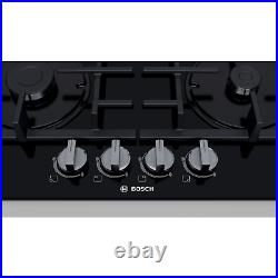 Bosch PNP6B6B90 Serie 4 Four Burner 60cm Gas-on-glass Hob With Cast Iron Pan Sta