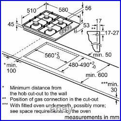 Bosch Serie 2 PBP6B5S80 Stainless Steel 60cm Gas Hob + 2 Year Warranty