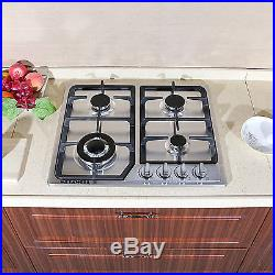 Brand 23 Stainless Steel 3300W Built-in Kitchen 4Burner Stove Gas Hob Cooktop