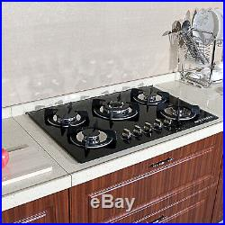 Brand 30 Tempered Glass Stove Built-in 5 Burners Cooktop NG/LPG Gas Hob Cooker