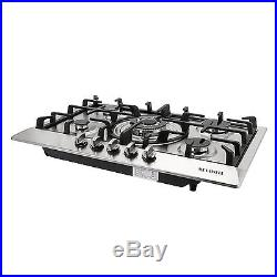 Brand New 30 Stainless Steel 5 Burner Built-In Stoves NG LPG Gas Cooktop Cooker