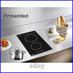 Built in Electric Cooktop 2 Burner Induction Cooker Portable Touch Panel Ceramic