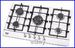 Built-in Gas Hob 5 burner 90cm Cooktop Stainless Steel LPG Cast Iron NJ-903S NEW