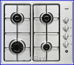 Bush AG60GNSS Stainless Steel Gas Hob 4 Burner Ring New Cooker Silver Kitchen