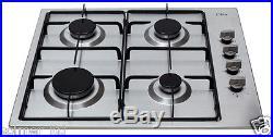 CDA HG6150SS 60cm 4 Burner Side Control Gas Hob in Stainless Steel + LPG Kit