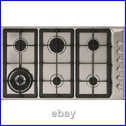 CDA HG9321SS 86cm 6 burner gas hob wok burner side control cast iron pan s