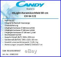 Candy Kochfeld CH 64 C/2 Glaskeramik Autark 60cm Touch Rahmenlos 230V oder 400V