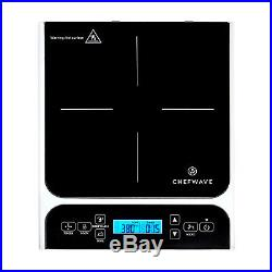 ChefWave LCD 1800W Portable Induction Cooktop with Safety Lock, Bonus 10in Fry Pan
