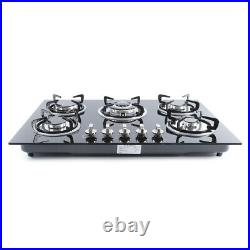 Cook Top 30 Inch Tempered Glass 5 Burner Stove NG LPG Gas + Flameout Protection