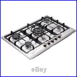 Delikit 02A 30 5 burners gas cooktop gas hob NG/LPG dual fuel sealed S. S panel