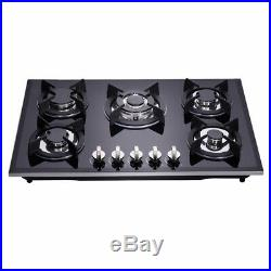 Delikit A 30 5 burners gas cooktop gas hob NG/LPG dual fuel sealed glass panel