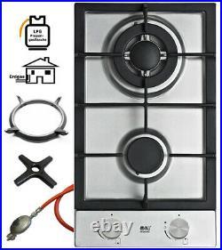 Domino-302S Gaskochfeld Edelstahl Gaskocher 2 flammig 5,2 KW Propan/ Erdgas +Set