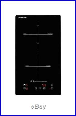 Domino doppel induktionskochplatte, Amzchef induktionskochfeld mit schwarz polier