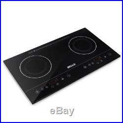 Dual Induction Counter Top Portable Lightweight Black Cook Top Electric Burner