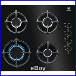 ELECTROLUX EGG6407K 60cm Built-in Black Glass Kitchen Gas Hob New