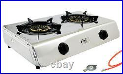 Edelstahl Gaskocher 2 flammig Campingkocher 7,6 KW Turboflamme Propan Kocher