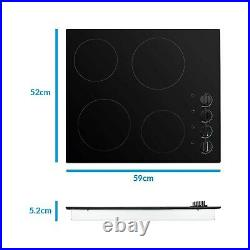 ElectriQ 60cm 4 Zone Black Glass Ceramic Hob With Knob Control