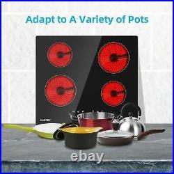 Electric Cooktop Drop-in Radiant Cooktop Ceramic Cooktop with 4 Burner Timer Black