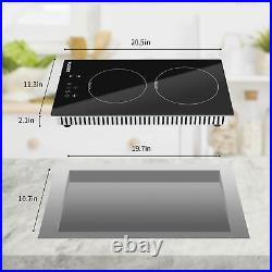 Electric Cooktop Induction Cooktop with 2 Burners & 9 Heat Setting & Timer Black