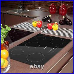 Electric Cooktop Vertical with 5 Burners Smoothtop with Minites Timer Black