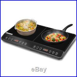 Electric Dual Digital Induction Cooker Ceramic 1800W Countertop Burner Black