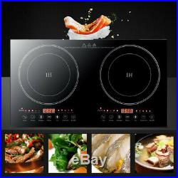 Electric Dual Induction Cooker Stove 1200W2 Hot Plate 2 Burner Cooktop With Timer