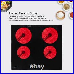 Electric Stove Induction Cooktop Electric Ceramic Stove with 4 Burners in Black