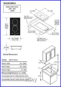 Empava 12 Electric Induction Cooktop 2 Burners 120V Black Glass Stove 1800W