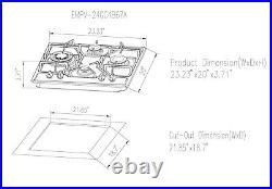 Empava 24 in. Gas Cooktop 4 Italy Sabaf Sealed Burners NG/LPG Convertible SS