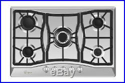 Empava 30 inch Gas Stove Cooktop 5 Italy Sabaf Burners Stainless Steel 30GC0A5
