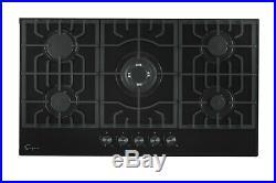 Empava 36 5 Italy Sabaf Burners Gas Stove Cooktop Black Tempered Glass
