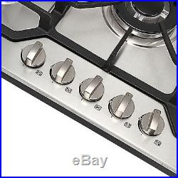 Fashion 30 Stainless Steel 5 Burner Built-in Stoves LPG/NG Gas Cooktops Cooker