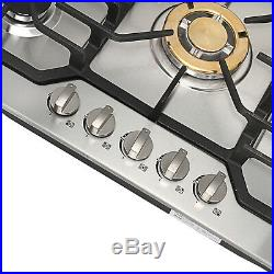 For Cook Top Stove 30 Stainless Steel 5 Burner Gas Cooktop NG/ LPG Conversion