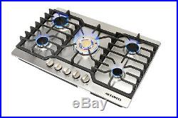 GAS cook Stoves Top 30 Stainless Steel Gold Built-in 5 Burner NG/LPG Conversion