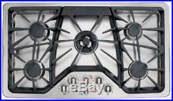 GE Cafe Series 36 Gas Cooktop-Stainless Steel-CGP650SETSS-AH710629Q