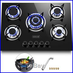 Gas Cooktop Gsa HobTempered Glass 5 Burners Stove 30in Fsat clean For Apartment