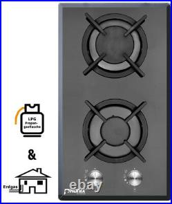 Gaskochfeld Domino Einbau Kochfeld Glas Gaskocher 2 flammig Autark LPG / Edrgas
