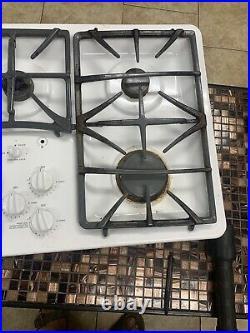 Ge Profile 36 Gas Cooktop Recessed 5 Sealed Burners White Porcelain Enamel Rare
